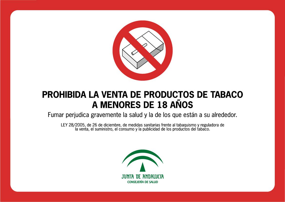 """Cartel de """"Prohibida la venta de productos de tabaco a menores de 18"""